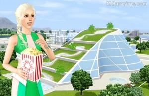 Сим на фоне здания Голографического кинотеатра в будущем