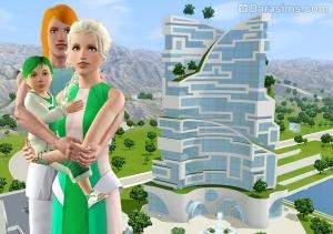Семья на фоне здания больницы в будущем