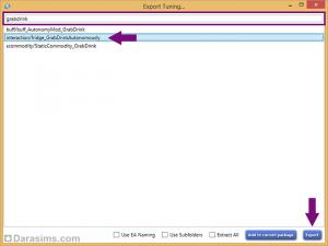 Экспорт найденного файла настроек в Sims 4 Studio
