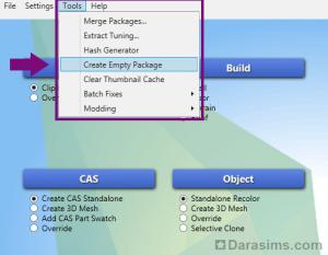 Создание чистого файла package в Sims 4 Studio