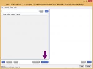 Импорт файла настроек в Sims 4 Studio