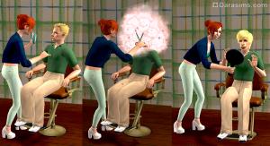 сим преображает внешность другого сима с помощью кресла стилиста