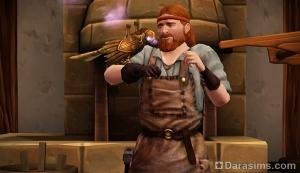 Кузнец с механической птицей в The Sims Medieval
