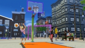 симы играют в баскетбол в The Sims 4 Жизнь в городе