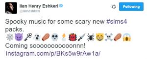 Сообщение в твиттере Илана Эшкера о новом наборе к Симс 4