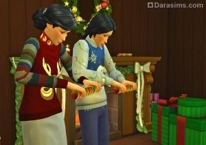 Симы взрывают праздничные хлопушки в Симс 4
