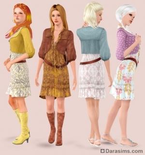 Женская одежда в Sims 3 Богемный сад