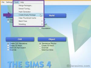 Создание пустого package в Sims 4 Studio