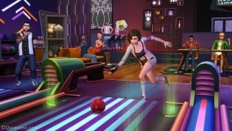 Персонаж играет в боулинг в каталоге «The Sims 4 Вечер боулинга»