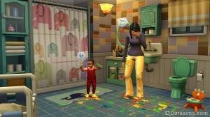 сименок размазывает краску по полу в the sims 4 родители