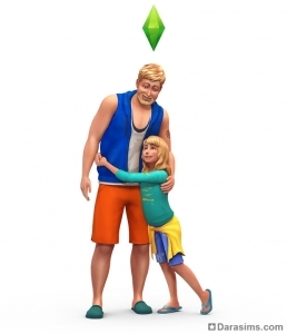 Отец и дочь в The Sims 4 Parenthood