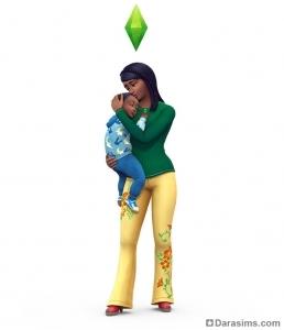 Рендер в The Sims 4 Родители: мама и малыш