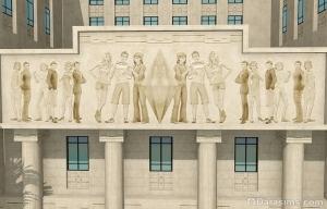 Персонажи Симс 4 на фасаде ратуши Рорин Хайтс в Симс 3