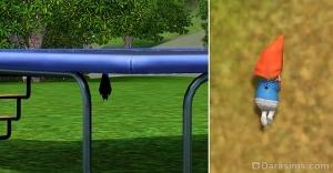 Летучая мышь под батутом и лапка на спине гнома