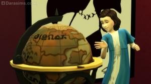 Ребенок играет с баром-глобусом