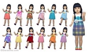 Платье с цветком на поясе для девочек