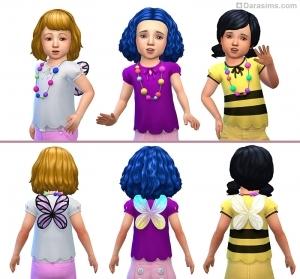 Блузка с бусами и крылышками для девочек