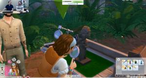 сим исследует найденный предмет в The Sims 4 Приключения в джунглях