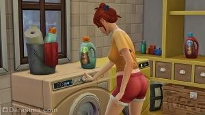 Сим включает стиральную машинку