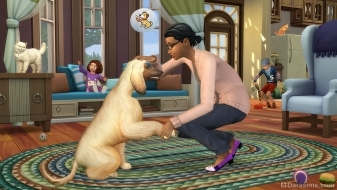 Пес дает лапу в The Sims 4 Кошки и собаки