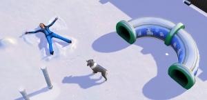 Собака оставляет следы на снегу в The Sims 4 Времена года
