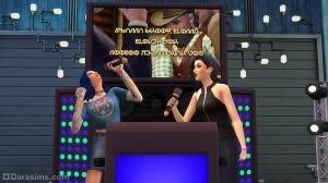 Персонажи поют дуэтом в караоке