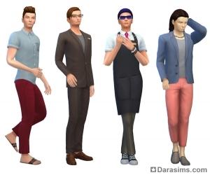 мужские стилизованные образы в Симс 4 На работу