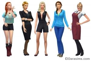 женские стилизованные образы в Симс 4 На работу