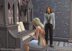 исполнение чарующей мелодии на органе в Симс 4 Вампиры