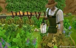 Садовод за работой в Симс 4 Времена года