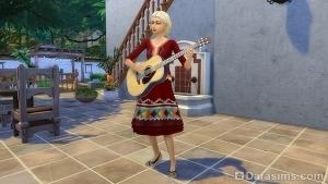 Исполнение латиноамериканских мелодий на гитаре в Симс 4 Приключения в джунглях