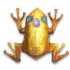 Золотая лягушка с сапфиром и ростком