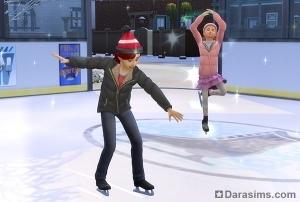 Дети катаются на коньках в Симс 4 Времена года