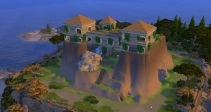 Дом на холме с помощью инструмента изменения уровня земли