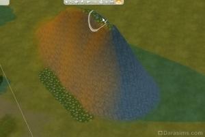 Краска земли не затрагивает каменистый склон