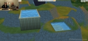 Бассейн и фонтан в сочетании с разными уровнями земли