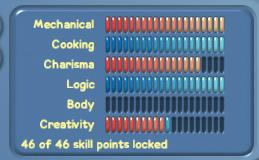 Панель навыков (красные – закреплены)