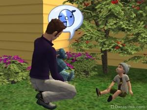 Сим говорит мишкой с малышом в Симс 2