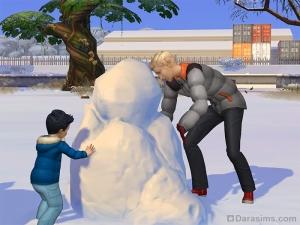 Малыш строит снеговика в Симс 4