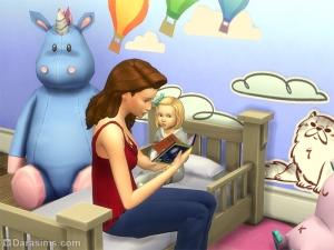 Малышу читают книжку в Симс 4
