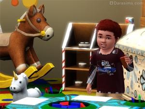 Малыш играет за столиком с кубиками в Симс 3