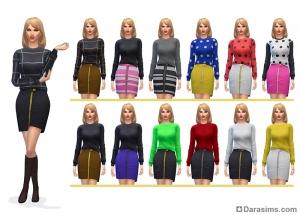 новые свитер с юбкой в Симс 4