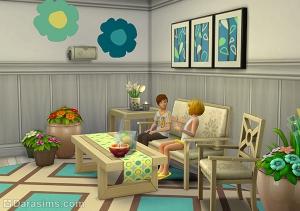 интерьер с новыми предметами из The Sims 4 На заднем дворе