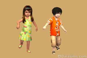 гавайская одежда для тоддлеров в The Sims 2 Для дома и семьи