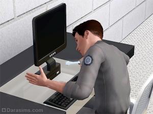Персонаж ремонтирует компьютер в Симс 3