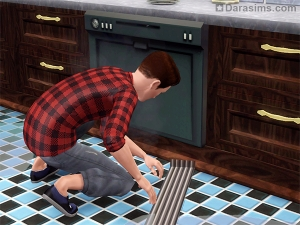 Персонаж чинит посудомоечную машину