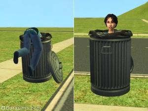 Ребенок играет в мусорном баке