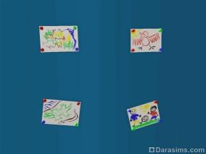 Детские рисунки можно вешать на стену