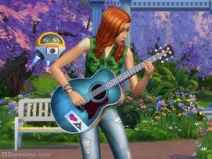 Запись видео о навыке игры на гитаре с помощью дрона