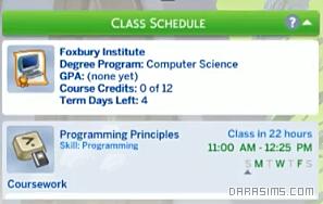 Курсы в Симс 4 В университете